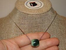 "100% Undyed Green Jade Barrel Slide Bead Pendant 5.6Gms W Solid 925 Chain  18""L"
