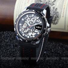 WINNER Skeleton Men's Automatic Mechanical Black Silicone Band Sports Wristwatch
