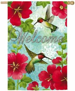 NEW LG EVERGREEN DOUBLE-SIDED FLAG 29X43 HUMMINGBIRDS & RED HOLLYHOCK WELCOME