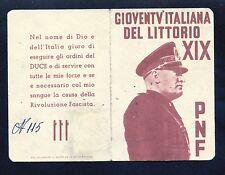 Italy WW2 Fascist Card (Gioventv' Italiana Del Littorio) & 1944 5 Lira Bank Note