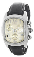 Invicta Lupah Men's Champagne Dial Diamond Bezel Black Leather Band Watch 9820
