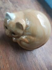 More details for gorgeous pottery quail curled cat mint condition rare  free postage