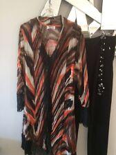 CLARITY THREADZ Black Orange Cream Taupe Crushed Sheer Long Sleeve Jacket Coat L