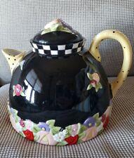 Retired Xl Mary Engelbreit Me Tea Pot Black Floral Charpente Check Polka Dot