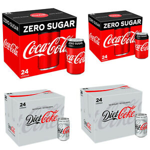 Coke Zero Sugar Diet Cock Pack of 24 330 ml Cans Fizzy Drink Coca-Cola Brand New