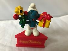 Smurfs Happy Birthday Smurf-A-Gram Smurf Cake Topper Flowers Present Red Stand