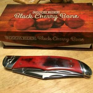 "Rough Rider Black Cherry Smooth Bone Folding Hunter 5 1/4"" Pocket Knife  RR1669"