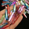 15+Pcs Colorful Flame Titanium Coating Aura Lemurian Seed Quartz Crystal Pendant
