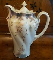 RS PRUSSIA ANTIQUE CHOCOLATE POT  LAVENDAR GREEN WITH WHITE FLOWERS HALLMARKED