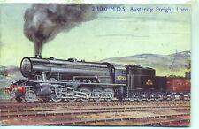 WD Austerity 2-10-0 locomotive 90750 1950s Photochrom art postcard