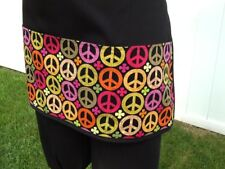 Black Peace Sign server waitress waist apron 3 Pockets restaurant.classyaprons