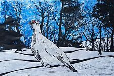 Ptarmigan Linocut Original Block Print Signed Ed by KG Willow Rock Grouse Bird