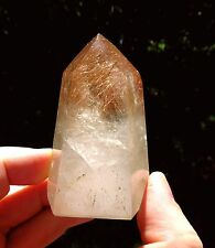 155g RARE SPARKLING RED RUTILE HAIR QUARTZ polished CRYSTAL STANDING POINT rough