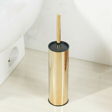 Long Toilet Brush and Holder Set, Stainless Steel Gold Finish, Rust Resistant