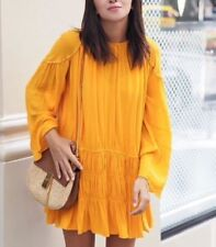 BNWT Zara beaded, gathered, boho, flowing mini dress in mustard/curry yellow