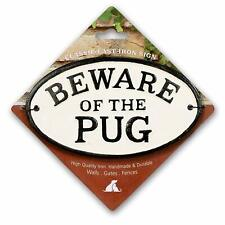Beware of The Pug Cast Iron Oval Sign