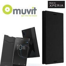Muvit Sony Xperia L1 Premium Folio Book Case Slim 1 slot per schede FLIP COVER NERO