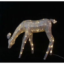 "Christmas 35"" Silver Reindeer Deer Pre-Lit Light Holiday Outdoor Yard Decor"