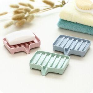 Plastic Soap Dish Holder Drain Tray Plate Storage Box Bathroom Shower Accessory