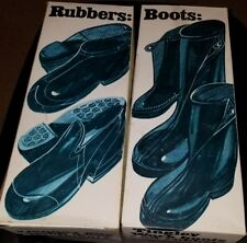 2 Pairs TINGLEY Rubber Boot Large Sz 9 1/2 -11  Waterproof Overshoes Black -1402