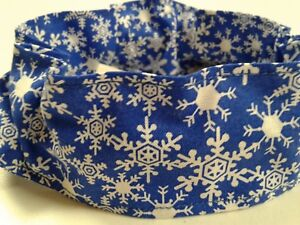 Dog Collar Cover Scrunchie Blue Snowflakes Custom Made By Linda xS,S,M,L