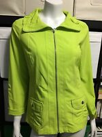 Laura Ashley Neon Green Top Blouse Long Sleeves 3/4 Sleeves Stretchy Small EUC