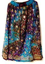"36"" Long COTTON Skirt Drawstring Waist FREE SIZE (79) Blue Purple Brown Mirrors"