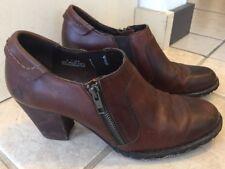 BORN Side Zip Oxford Heels Brown Leather Slide Women Sz 9