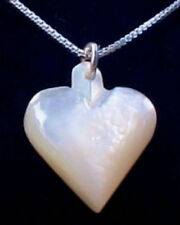 """Mother of Pearl Heart Necklace w/18"""" Sterling Silver Chain"""