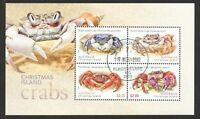 AUSTRALIA CHRISTMAS ISLAND 2020 CRABS SOUVENIR SHEET OF 4 STAMPS IN FINE USED