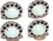 Natural Opal & Sapphires 925 Sterling Silver 4 Piece Tuxedo Button Set Jewelery