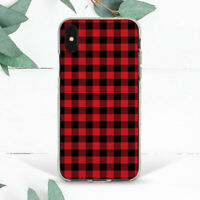 Red Buffalo Check Plaid Soft Case Cover For iPhone 7 8 Plus Xs 11 12 Pro Max XR