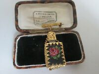 VINTAGE EMBROIDERED ROSE PERFUME BOTTLE GOLD TONE PENDANT DROP BROOCH PIN