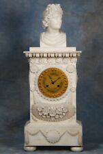 Antique French Carved Alabaster & Bronze Clock Early 1800s Great Condition