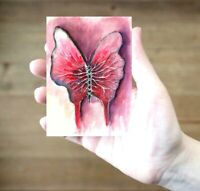 ACEO Butterfly heart surreal fantasy abstract original painting art card