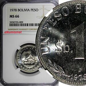 Bolivia 1978 1 Peso Boliviano NGC MS66 TOP GRADED GEM BU KM# 192 (009)