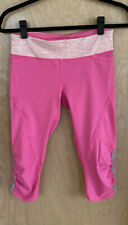 NEW LULULEMON Run Pace Crop Size 6 Pinkelicious Wee Space Mesh Reflect Drawcord