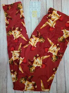 NEW LuLaRoe OS Valentine Leggings Maroon Angel Cupid Cherubs Red Hearts