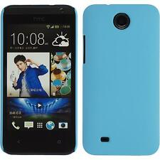 Hardcase HTC Desire 300 rubberized light blue Cover + protective foils