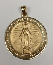 #M-18 14Kt Yellow Gold Large Round Miraculous Medal Pendant (Double Sided)