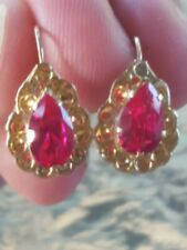 Earrings 14kt Solid Yellow Gold New listing Ruby Pear Cut Hook Closure