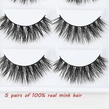 5Pairs Fake False Eyelashes Eyelash Extension 100% Real Mink Hair Handmade