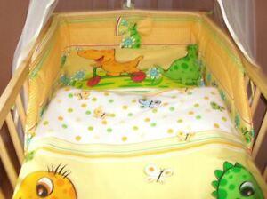 Dinosaurs 90x120cm Baby Bedding Set Yellow Anti 100% Allergic Cotton 5-piece