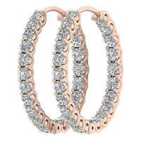 VS1 E Hoops Earrings Inside Outside Round Diamond 2.50 Ct 14K Rose Gold 0.95Inch