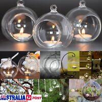 6PCS Round Glass Hanging Candle Tea Light Holder Candlestick Party Home Decor AU