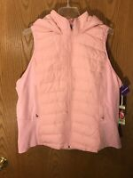 Tangerine Women Active Puffer Full-Zip Hooded Vest Salmon, XX-Large