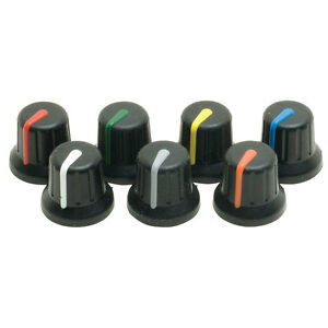 Soft Touch Knobs for Panel Mount Pots, Various Colours, Great for PIC & Arduino