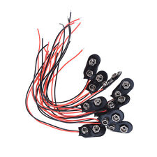 10X Black Red Cable Connection 9V Battery Clips Connector Buckle 15cm Durable Hv