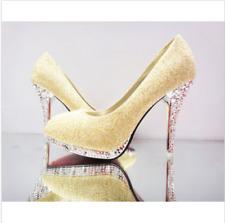 Elegant Wedding White Bridal Bridesmaid Shoes Banquet Dress Pumps Plus Size 2-7