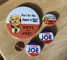 "4 Awesome 2020 Joe Biden Buttons Includes HUGE 3"" ANTI TRUMP Button FREE SHIP!"